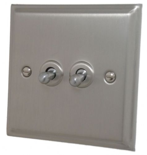 G&H DSN282 Deco Plate Satin Nickel 2 Gang 1 or 2 Way Toggle Light Switch